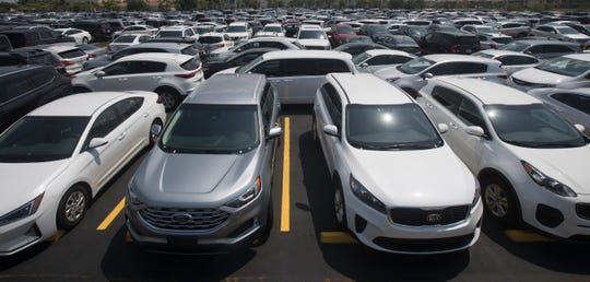Hertz rental cars pack Hertz Arena on Wednesday, April 16, 2020. With so many cars not being rented because of the COVID-19 pandemic and Hertz arena not being used, the space became a perfect spot to store vehicles.