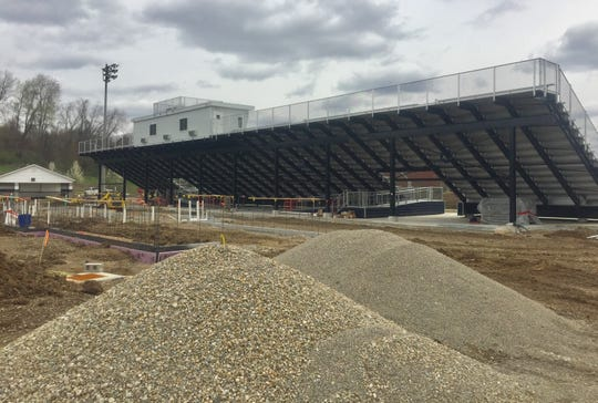 A rear view of the new Granville High School stadium bleachers and press box. The foundation for the locker room and restroom facility to be located behind the bleachers is expected to be poured soon.