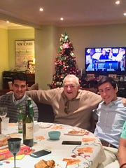 Thomas Mastropietro flanked by his grandsons Steve and Mark at a Christmas dinner in recent years. Mastropietro died at the New Jersey Veterans Home in Paramus from COVID-19.
