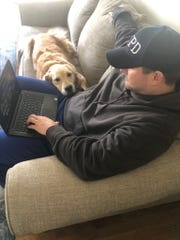NY Giants coach Joe Judge has spent a lot of time working remotely in the basement of his Massachusetts home with his 6-year-old golden retriever Abby by his side.