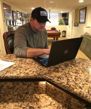 NY Giants coach Joe Judge works remotely from his Massachusetts home as the team deals with restrictions stemming from the coronavirus pandemic.