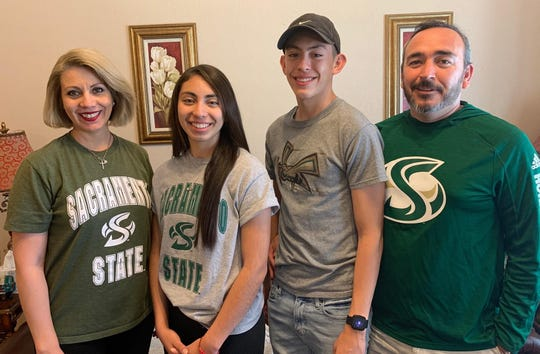 Centennial girls basketball player Jessica Rios, second from left, signed on Wednesday to play at Sacramento State.