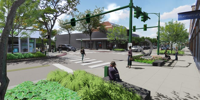 A rendering of the Maple Road reconstruction project in Birmingham.