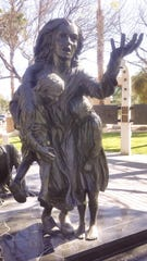A detail from the Desert Holocaust Memorial in Palm Desert is photographed on April 14, 2020.
