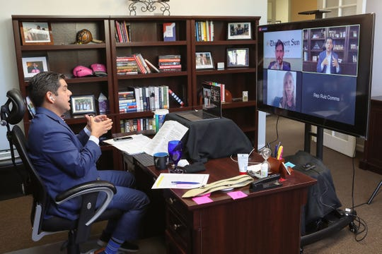 Rep. Raul Ruiz participates in a Q&A conference call with Mark Olalde and Julie Makinen of The Desert Sun while answering questions about the coronavirus from his Palm Desert office, April 15, 2020.