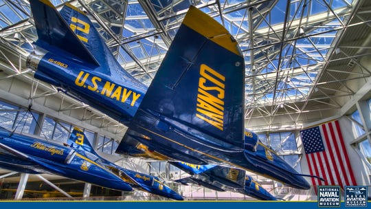 This Blue Angels Atrium background is now available for download and placement into your virtual chats.