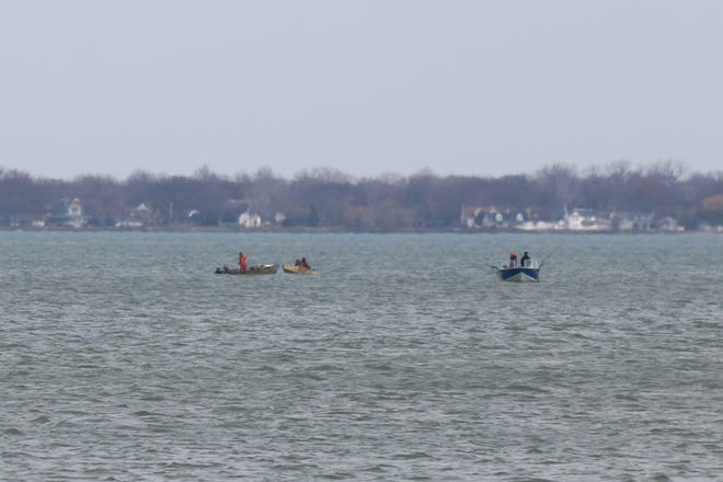As fishing is permitted if practice with proper social distancing, boaters went out on Lake Erie to fish north of Marblehead.