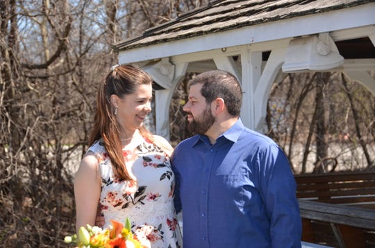 Ashley and Joe Grillo celebrate their wedding on April 6 in New Windsor. The couple had originally planned a cruise wedding, but that was canceled amid the coronavirus pandemic.