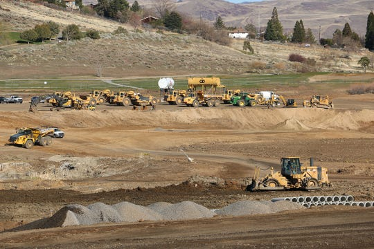 Construction is seen on the new Hug High School on the site of the old Wildcreek Golf Course in Reno on April 14, 2020.