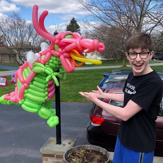 Dragon balloon yard art for Luke Healey's 13th birthday.