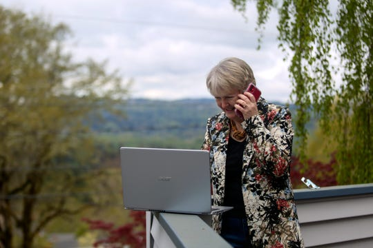 Senate District 10 candidate Deb Patterson is conducting all campaign movements via video and phone conferencing to maximize social distancing, in Salem on April 15, 2020.
