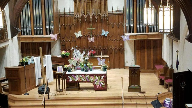 St. Luke United Methodist Church was fully decorated for Easter even though the congregation had to watch the service from home.