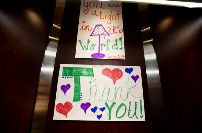 A thank you sign in the elevator at Ochsner LSU Health Shreveport during the coronavirus Wednesday, April 15, 2020.