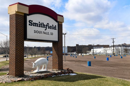 One of Smithfield Foods, Inc. employee parking lots stands empty on Wednesday April 15, in Sioux Falls. The plant, which is now closed indefinitely, is the nation's largest hot spot for the coronavirus after hundreds of employees tested positive.