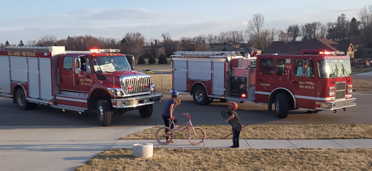 The Dell Rapids Fire Department makes an 'at-home isolation Birthday Party' visit on Saturday, April 11.