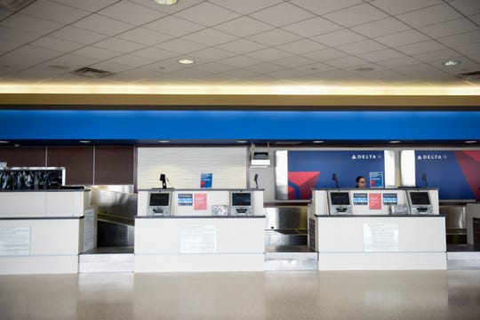 The Sioux Falls Regional Airport sits nearly empty as travel decreases due to the coronavirus on Wednesday, April 15, 2020 in Sioux Falls, S.D.
