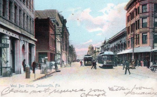 1906 postcard of West Bay Street In Jacksonville, where alligator souvenirs were sold.