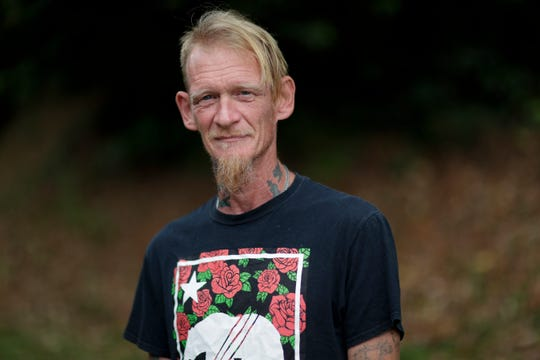 Bruce Bryant, who is homeless, says he spent two weeks sleeping outside as he waited on a housing referral list with Big Bend 211 for two weeks before he was placed in a hotel room by the Kearney Center Tuesday, April 14, 2020.