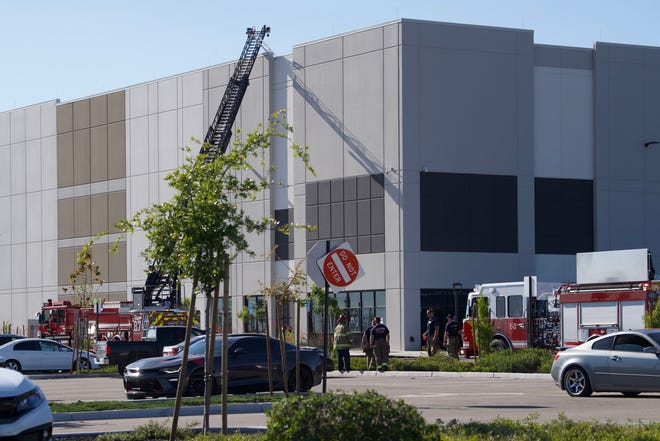 Fresno firefighters responded to a three-alarm fire at Amazon Fulfillment Center on Tuesday, April 14, 2020.