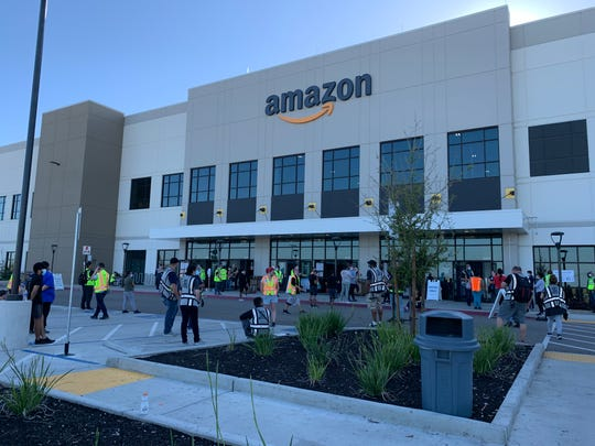 Fresno firefighters battled a blaze at Amazon Fulfillment Center on Tuesday, April 14, 2020.