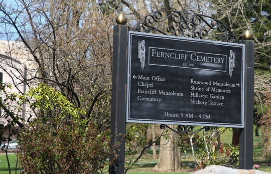 The entrance to Ferncliff Cemetery on Secor Road in Hartsdale April 14, 2020.