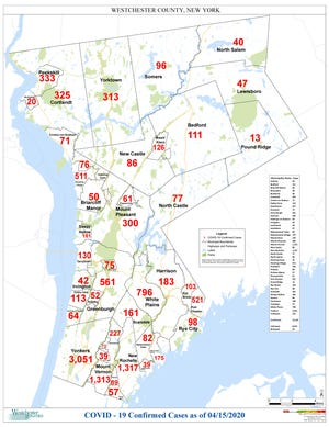 A map of Westchester County coronavirus cases by town April 15, 2020.