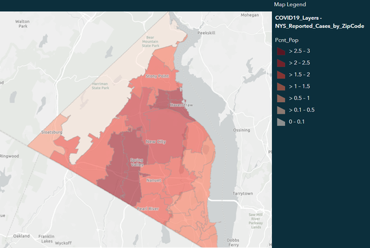 Rockland County's coronavirus dashboard, seen on April 15, 2020, showing confirmed COVID-19 cases by ZIP code, per percentage of population.