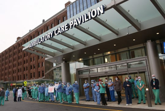 Emergency service vehicles from around Westchester County converged on the Westchester Medical Center in a display of solidarity and recognition for the workforce and patients of WMCHealthÕs Westchester Medical Center April 14, 2020.