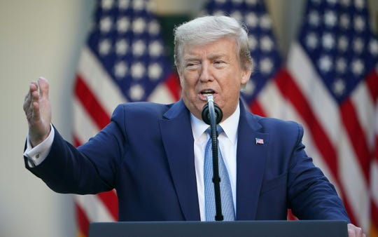 US President Donald Trump gestures as he speaks during the daily briefing on the novel coronavirus, which causes COVID-19, at the White House on April 15, 2020, in Washington, DC.