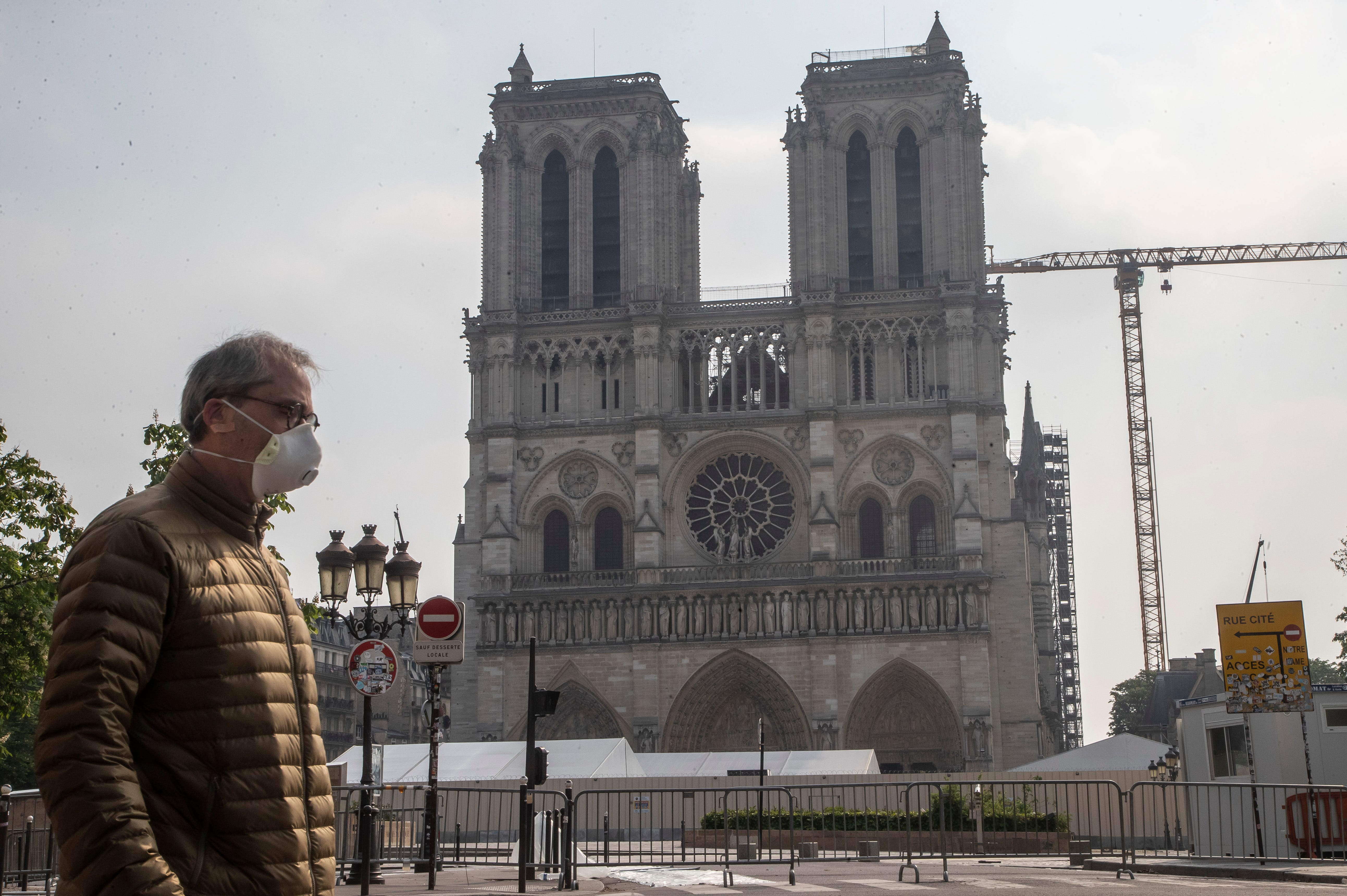 A year after horrifying fire, Notre Dame Cathedral restoration is on pause amid coronavirus lockdown in France