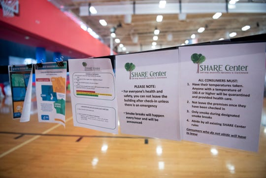 Battle Creek's S.H.A.R.E. Center has converted Full Blast's indoor recreational center into temporary shelter for homeless citizens during the COVID-19 pandemic, pictured on Wednesday, April 15, 2020 in Battle Creek, Mich.