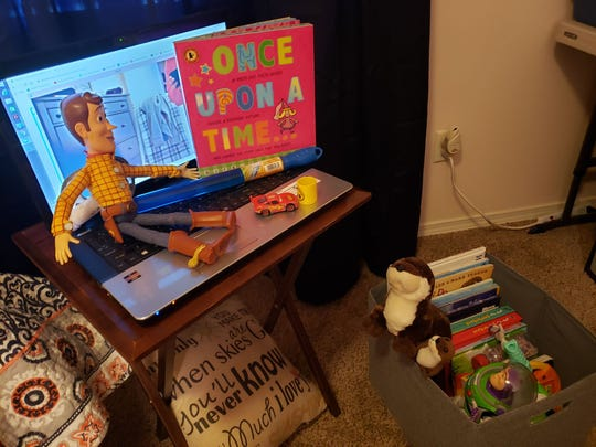 A Holly Ridge Center employee's home work station. Therapists and educators at the nonprofit neurodevelopment center have had to transition to working remotely with clients during the COVID-19 outbreak.