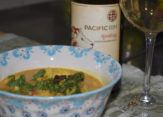 In 2010, Pacific Rim became its own winery in Washington. Its Riesling is shown paired here with cauliflower, coconut, garbanzo bean stew.