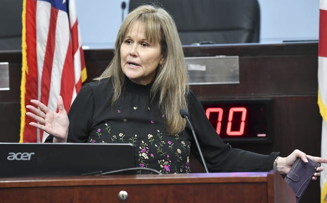 Brevard County Commission Vice Chair Rita Pritchett, who also chairs and the Brevard County Policy Group, answers questions during Thursday's status update on the coronavirus pandemic at the Brevard County Government Center in Viera.