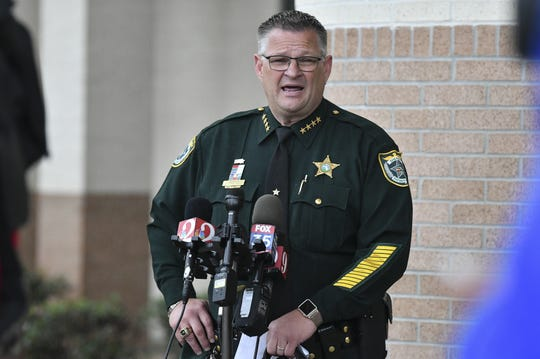 """Brevard County Sheriff Wayne Ivey addresses the media Thursday afternoon concerning a ruling by the 5th District Court of Appeal dismissing the charges against a Port St. John man accused of shooting a deputy in 2015. The appeals court cited the state's """"Stand Your Ground"""" law in dismissing the charges. Mandatory Credit: Craig Bailey/FLORIDA TODAY via USA TODAY NETWORK"""