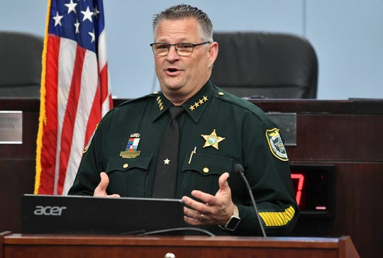 Brevard County Sheriff Wayne Ivey answers questions during Thursday's status update on the coronavirus pandemic at the Brevard County Government Center.