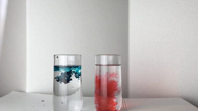 Warm and cold water react differently with food coloring. 4/13/2020