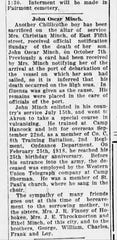 The obituary for John Oscar Minch who died of the Spanish flu in 1918.