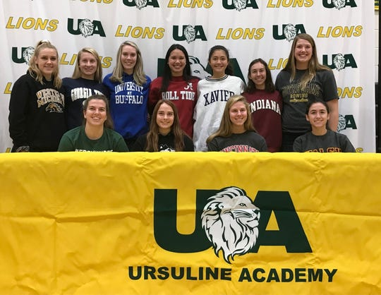 The Ursuline Academy athletes who signed April 15 to play collage sports are, from left: Front Lauren Klare - Basketball - Mercyhurst University; Olivia Lynd - Gymnastics - Northern Illinois University; Julia Simer - Soccer - University of Cincinnati; Delaney Muldoon - Soccer - Walsh University; back, Logan Case - Volleyball - Western Michigan University; Claudia Butterfield - Swimming - Georgia Tech University; Emma Gielas - Volleyball - University of Buffalo; Isabella Matesa - Swimming - University of Alabama; Elise Le - Soccer - Xavier University; Hannah Doerger - Cross Country - Indiana University; Avery Ericksen - Crew - University of Notre Dame. Not pictured: Lucy Hansen - Cross Country - Emory University