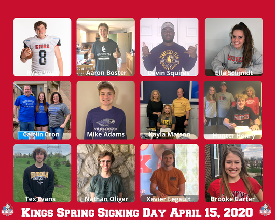 The Kings High School athletes who signed to play sports in college were, from left: Top, Ryan Vogt, Aaron Boster, Devin Squires and Ella Schmidt; middle, Caitlin Cron, Mike Adams, Kayla Matson and Hunter Henry; and bottom, Tex Evans, Nathan Oliger, Xavier Legault and Brooke Garter.