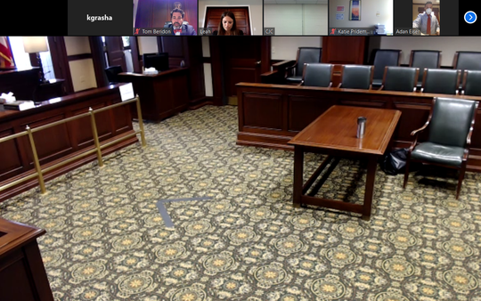 Screenshot of Hamilton County Common Pleas Judge Thomas Beridon's courtroom, as seen on Zoom on April 7, 2020.