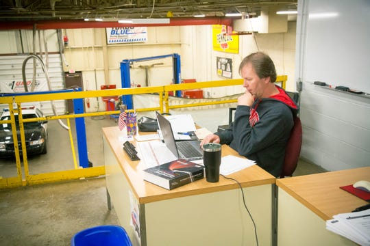 Instructor John Large of the auto technology program at the Coshocton County Career Center engages with students via online means during the COVID-19 pandemic.