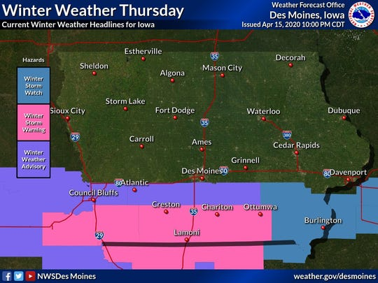 Parts of southern Iowa are under winter weather advisories and winter storm warnings Thurs. April 16, 2020.