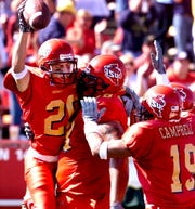Iowa State receiver Jack Whitver (26) celebrates a first-half touchdown scored against Baylor on Sept. 29, 2001, at Jack Trice Stadium in Ames. Whitver, a Republican, has served as majority leader of the Iowa Senate since 2018.