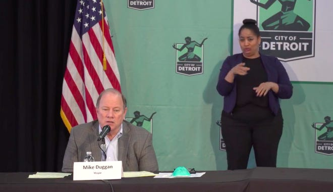 Detroit Mayor Mike Duggan speaks at a press conference on the coronavirus Thursday, April 16, 2020, at Eastern Market.