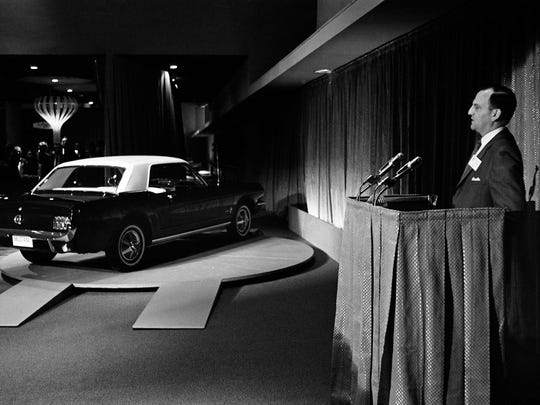 Lee Iacocca introduces the first Mustang at the 1964 New York World's Fair