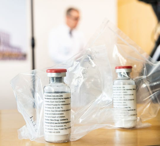 Vials of the drug Remdesivir on display during a news conference about the start of a study with use of the drug in severely ill patients at the University Hospital Eppendorf in Hamburg, Germany, on April 8, 2020, amid the coronavirus pandemic.