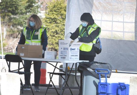 Drive-thru coronavirus testing is condcuted at 1200 N. Telegraph in Pontiac on April 16.