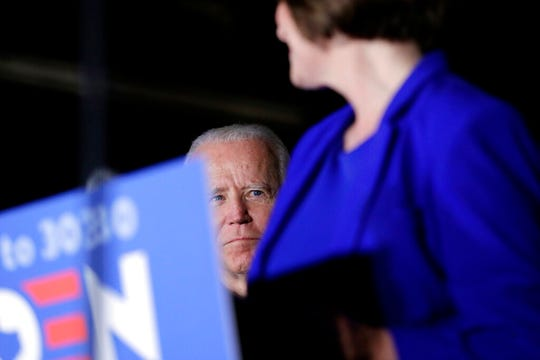 In this March 2, 2020, file photo Sen. Amy Klobuchar, D-Minn., endorses presumptive Democratic presidential candidate former Vice President Joe Biden at a campaign rally in Dallas.