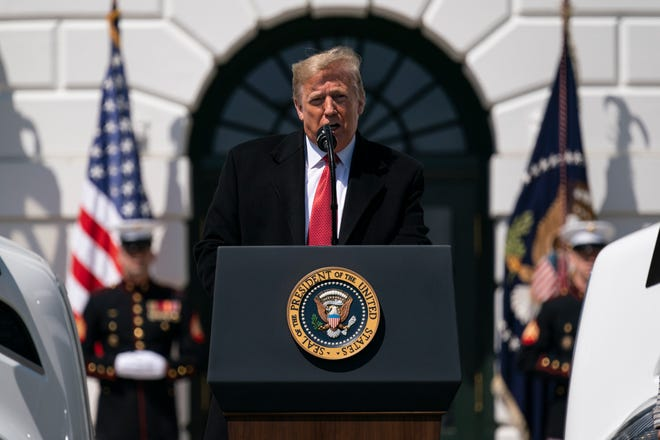 President Donald Trump speaks during an event celebrating American truckers, at the White House, Thursday, April 16, 2020, in Washington.